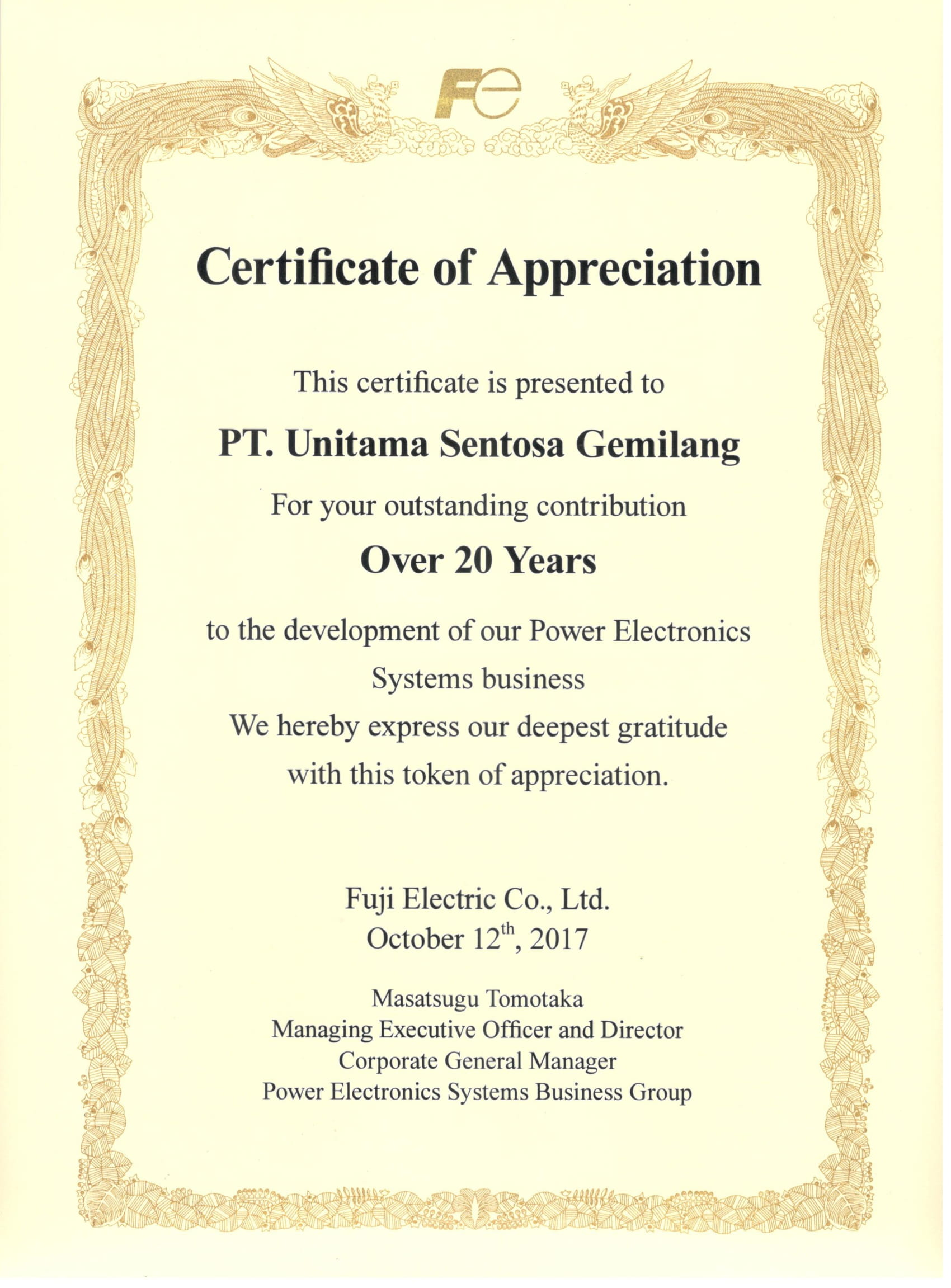 Fuji Certificate of Appreciation